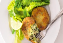 Potato burgers with smoked trout